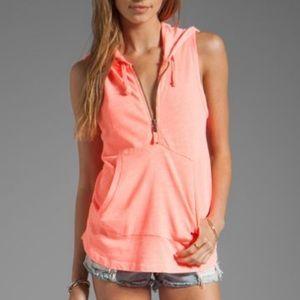 Splendid - sleeveless hoodie - neon coral